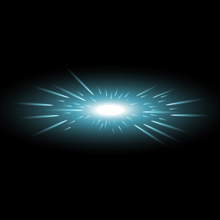 Glowing light with flying comets, star burst with sparkles on black background, light effect, aqua color Stock Illustratie