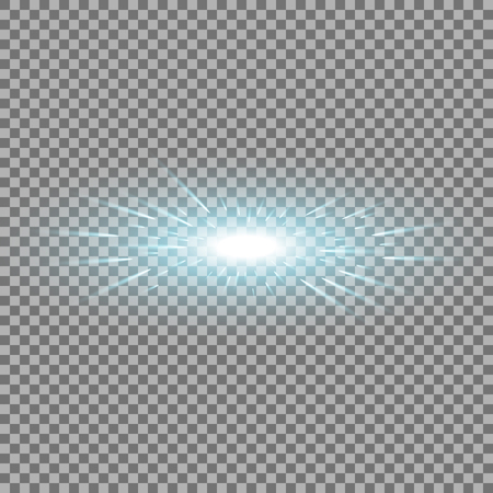 Glowing light with flying comets, star burst with sparkles on transparent background, light effect, aqua color