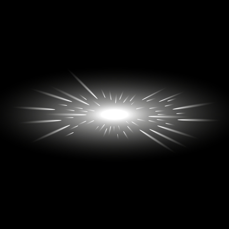 Glowing light with flying comets, star burst with sparkles on black background, light effect, white color
