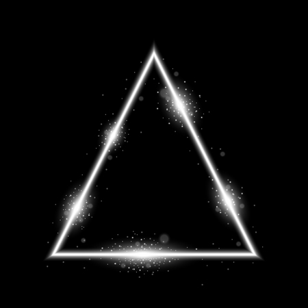 Triangle with lights and sparkles on black background, light effects, white color