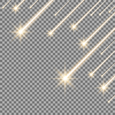 Glowing falling stars on transparent background, light effect, golden color Stock Illustratie