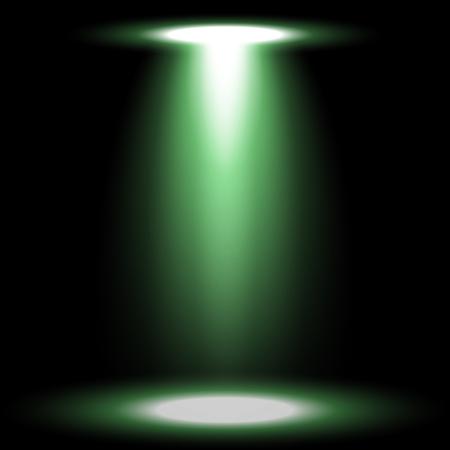 Spotlight glow effect, light beam on black background, show spotlight vector, light effect, green color