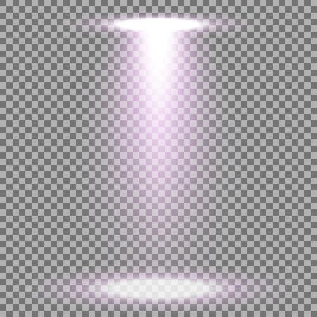 Spotlight glow effect, light beam on transparent background, show spotlight vector, light effect, purple color