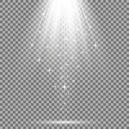 Vector spotlight effect with sequins on transparent background, light effect, white color