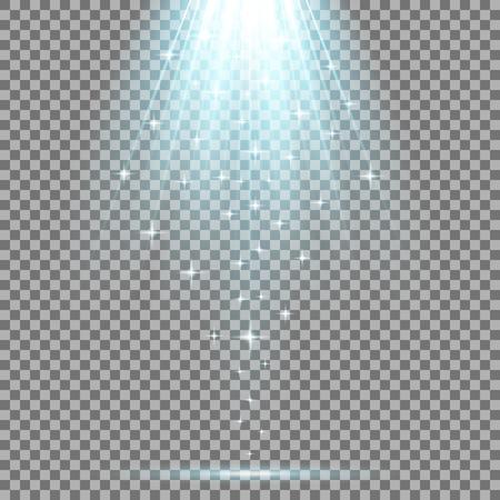 Vector spotlight effect with sequins on transparent background, light effect, aqua color Illustration