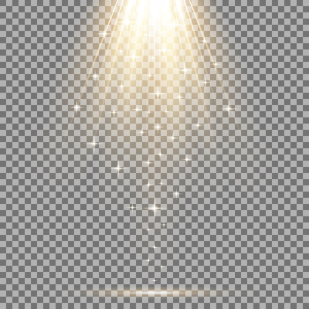 Vector spotlight effect with sequins on transparent background, light effect, gold color