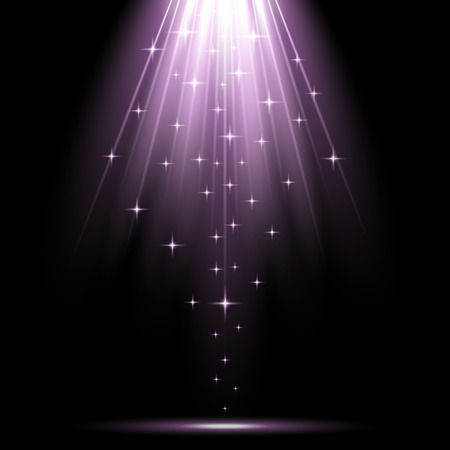 Vector spotlight effect with sequins on black background, light effect, purple color