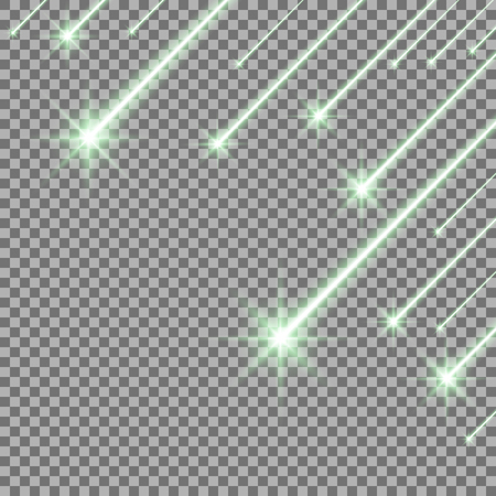 Glowing falling stars on transparent background, light effect, green color