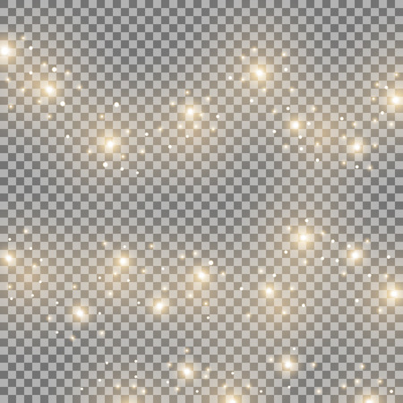 Light glow effect stars bursts with sparkles, isolated on transparent background, golden color Illustration
