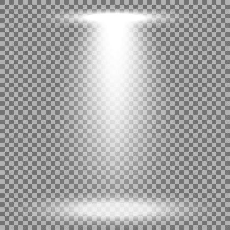 Spotlight glow effect, light beam on transparent background, show spotlight vector, light effect, white color