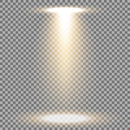 Spotlight glow effect, light beam on transparent background, show spotlight vector, light effect, golden color