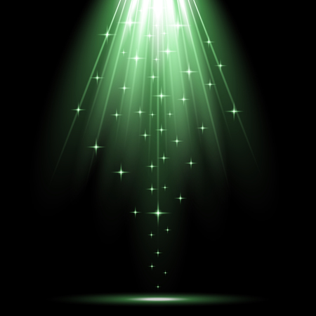 Vector spotlight effect with sequins on black background, light effect, green color