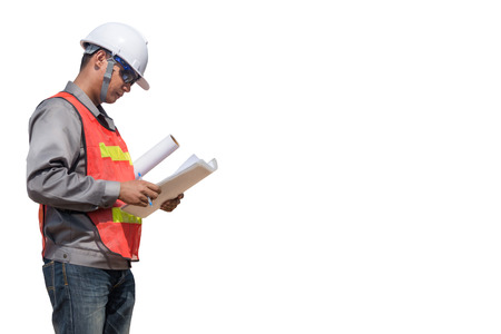Engineer-businessman is checking note on white background