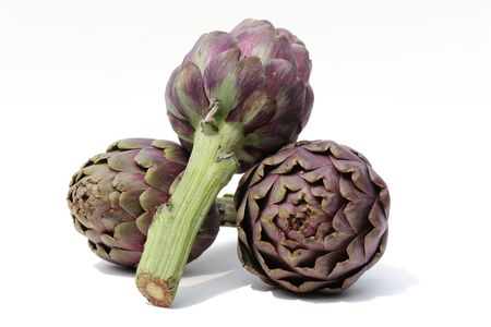 Artichokes on white Stock Photo