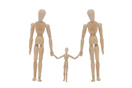 wooden man with family Stock Photo - 4360995