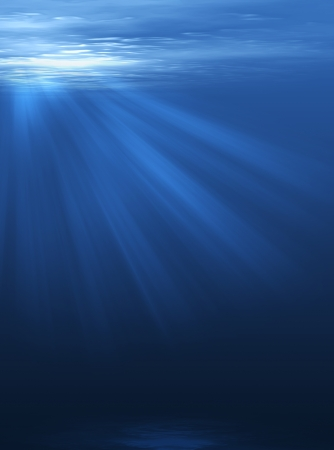 the depth: Rays of light through the depth of the sea Stock Photo