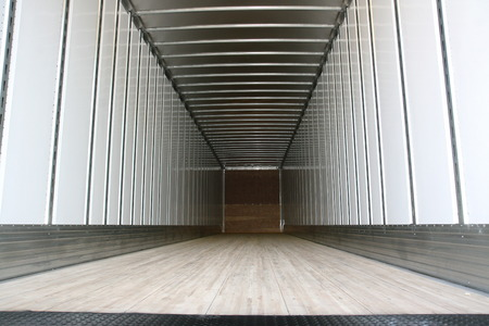 Big trailer container empty ready to be loaded Stock Photo