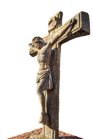 viernes santo: Foto vertical en el color de la crucifixión de Jesús en piedra de una tumba Foto de archivo