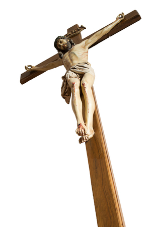 zenith: Vertical image isolated in color of the crucifixion oh Jesus Christ against zenith Stock Photo