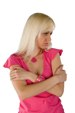blonde in a pink blouse