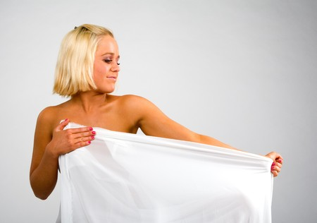 blond and a white fabric