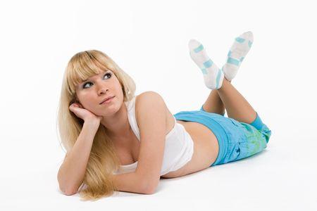 blonde girl  on white