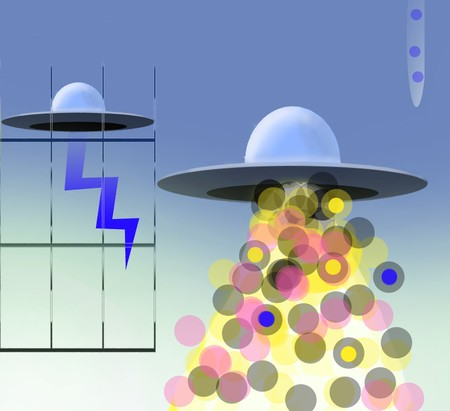 Cool design with ufo and colored balls Stok Fotoğraf
