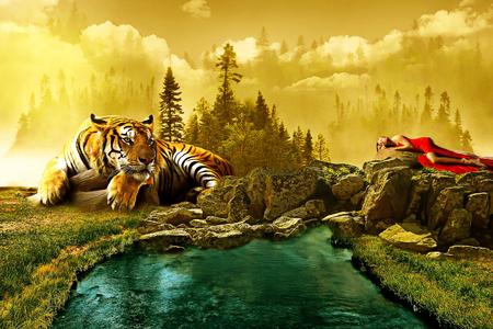 Fantasía escenario película whit tigre y dama Foto de archivo - 91125100