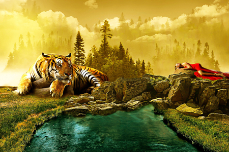 fantasy scenary film whit tiger and lady Stok Fotoğraf