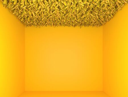 Interior in monochrome yellow color. Exhibition installation with a lot of bananas on the ceiling. Creative decorative composition. Modern Art. 3D rendering. Stok Fotoğraf
