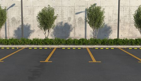 Empty car parking without cars. Parking spaces, sidewalk for pedestrians with flower bed. 3D render.
