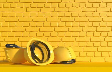 Yellow construction helmet on a background of a yellow brick wall. Builder Work Uniform. 3D render Stok Fotoğraf