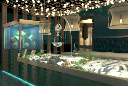 The interior of the shop fresh fish and seafood. Design of the fish market. Live fish in an aquarium and fresh fish in a showcase on ice. 3D render Stok Fotoğraf