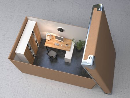 Interior office space in a cardboard box. Conceptual illustration. 3D rendering.