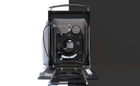 Old retro camera on a black and white background. Creative conceptual illustration with copy space. 3D rendering