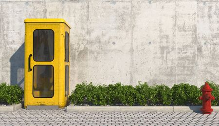 Single old yellow phone booth in retro style on the footpath in the urban exterior opposite the facade of the concrete wall and red fire hydrant. 3D rendering.