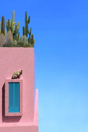 Cactus and succulents grow on the roof of an old pink house against a clear sky. Ancient Persian building with pink walls and a Persian cat on a window with shutters. Copy space. 3D rendering Imagens