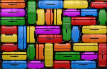 Many identical bright multi-colored suitcases on wheels stacked on top of each other. Travel bags are in a heap. 3D rendering illustration