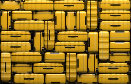 Many identical yellow suitcases on wheels stacked on top of each other. Travel bags are in a heap. 3D rendering illustration