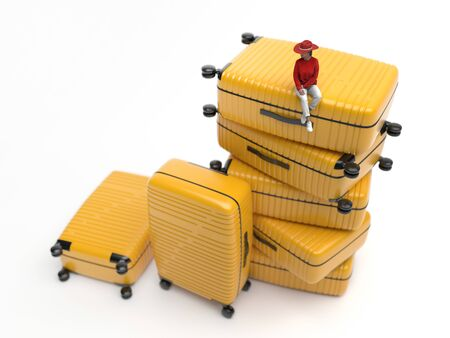 Miniature figure of a small midget woman sits on large yellow travel suitcases on a white background. Girl is preparing for the trip. Creative conceptual illustration with copy space. 3D rendering