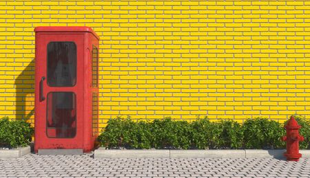 Single old red phone booth in retro style on the footpath in the urban exterior opposite the facade of the yellow brick wall and red fire hydrant. 3D rendering.