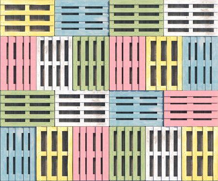 Wooden pallets of different pastel colors and shapes lie in a row in a top view. Seamless texture or background. Creative decorative illustration. 3D rendering.