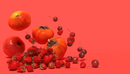 Banner with red fruits on a red background with free space for text. Composition of apples, strawberry, cherries and persimmon falling down. 3D rendering