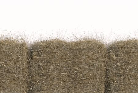 Haystack closeup isolated on white background with copy space. Top view. 3D render of straw.