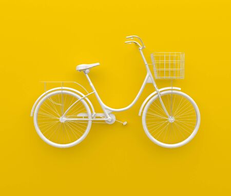 Single retro bicycle painted in monochrome white. Isolated on yellow background. Abstract concept. 3D render. Stock Photo
