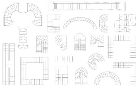 Graphic set of stairs in different forms. Top view. Vector illustration. Isolated on white background
