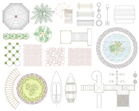 Graphic set of recreation and landscape elements. Top view. Vector illustration.Isolated on white background.