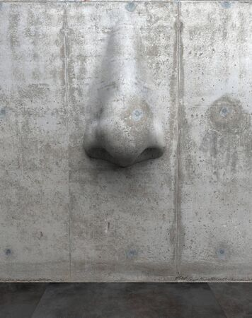 Cement sculpture in the shape of a human nose on a concrete wall. Creative conceptual modern art with copy space. 3D rendering