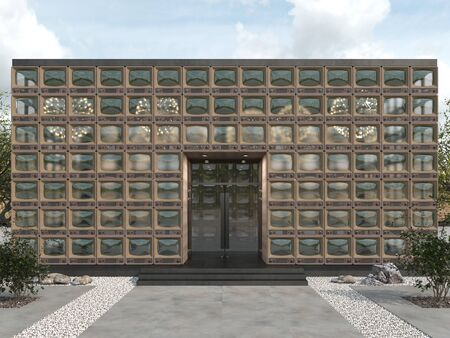 Modern building of a rectangular shape. Creative facade of old retro TV with windows instead of screens. Copy space. 3D rendering
