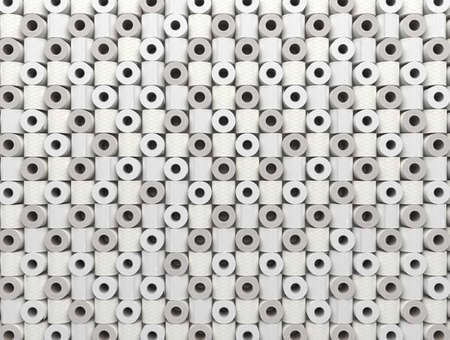 Many rolls of toilet paper are lined in a row. Background from toilet paper. 3D render Stock fotó